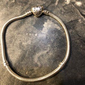Jewelry - Pandora Silver Charm Bracelet with Heart Clasp